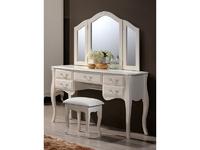 Будуарный стол + зеркало + пуф <<Богемия>> (античный белый) domini