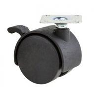 ролик мебельный с площадкой и тормозом d-40мм
